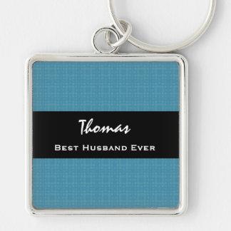 Best Husband Ever Blue and Black Custom Name Key Chains