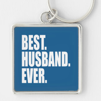 Best. Husband. Ever. (blue) Silver-Colored Square Key Ring