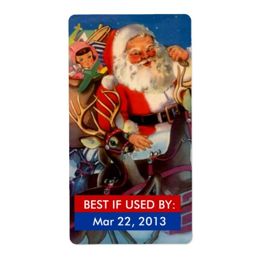 BEST IF USED BY Labels Canning Gifts Santa Sleigh
