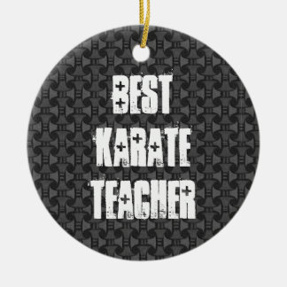 Best Karate Teacher Geometric Gray Pattern Round Ceramic Decoration