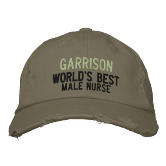 Best Male Nurse | Custom Name in Green Embroidered Hats