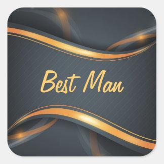 Best Man (b/g) Square Stickers
