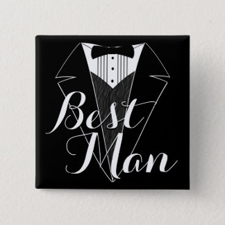 Best Man Black and White Tux Wedding Party Button