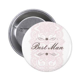 Best Man Button-Vintage Bloom