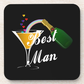 Best Man Champagne Toast Beverage Coasters