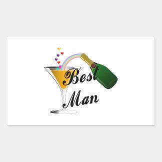 Best Man Champagne Toast Rectangular Sticker