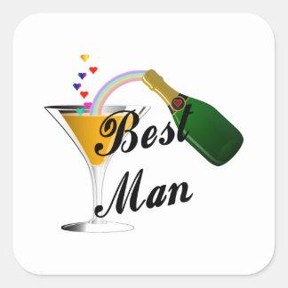 Best Man Champagne Toast Square Sticker