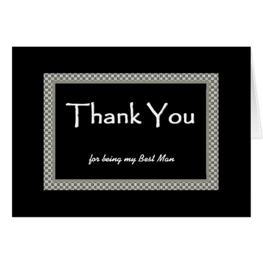BEST MAN Chequerboard Wedding THANK YOU Card