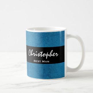 BEST MAN Custom Name Cobalt Blue Grunge Damask Coffee Mugs