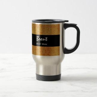 BEST MAN Custom Name Gold Grunge Damask Coffee Mugs