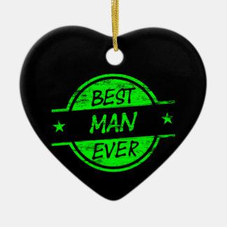 Best Man Ever Green Ceramic Heart Decoration