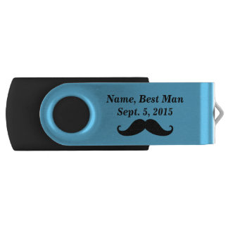 Best Man Mustache and Top Hat USB Flash Drive Swivel USB 2.0 Flash Drive