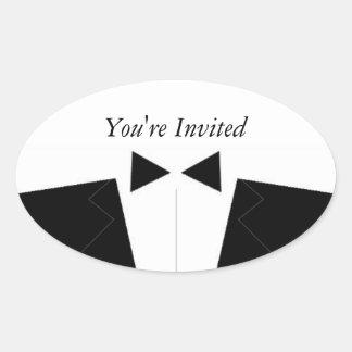 Best Man or Groomsman Invite Envelope Seal Oval Sticker