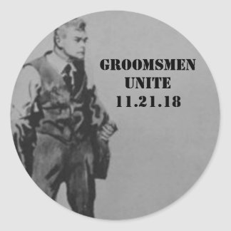 Best Man or Groomsman Invite Envelope Seals Round Sticker