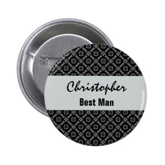 BEST MAN Pin Button Black and Silver Pattern V02