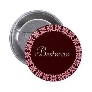 Best Man Pink Flowers I D Button