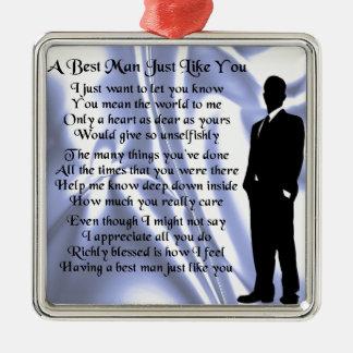 Best Man Poem - Blue Silk Christmas Ornament
