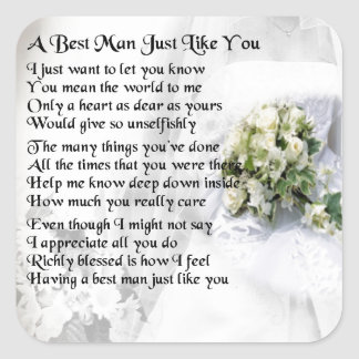 Best Man Poem - Wedding Bouquet Design Square Sticker