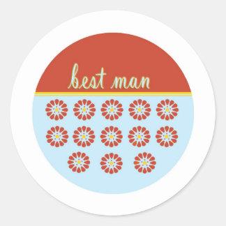 Best Man Round Stickers