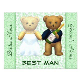 "Best Man - Teddy Bears Apple Green Wedding Invite 4.25"" X 5.5"" Invitation Card"