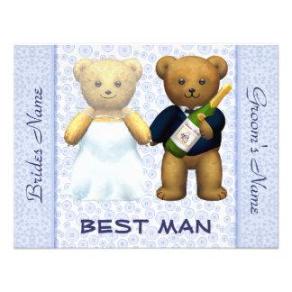 Best Man - Teddy Bears Blue Wedding Invite