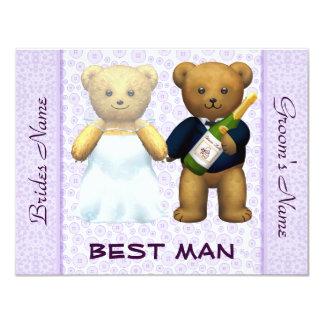 Best Man - Teddy Bears lilac Wedding Invite