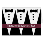 BEST MAN Thank You - Three Tuxedos - Customisable Cards