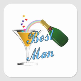 Best Man Toast Blue Square Sticker