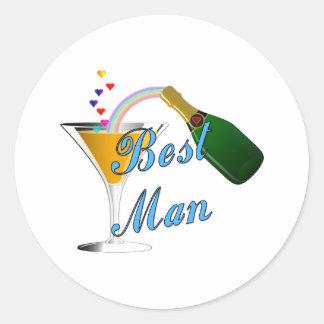 Best Man Toast Blue Round Stickers