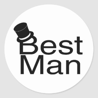 Best Man Top Hat Classic Round Sticker