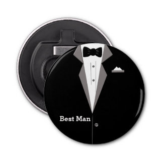 Best Man Tuxedo Art Bottle Opener