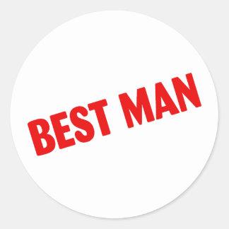Best Man Wedding Red Round Stickers