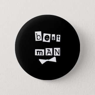 Best Man White on Black 6 Cm Round Badge