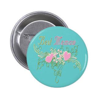 Best MeMaw Swirling Hearts 6 Cm Round Badge