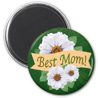 Best Mom Award with White Zinnias 6 Cm Round Magnet