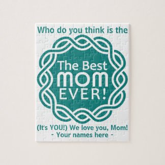 BEST MOM custom text & color puzzle