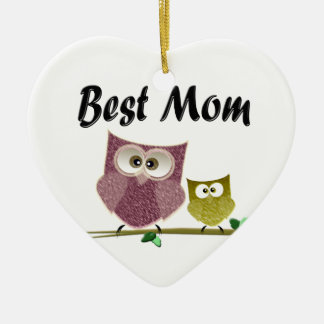 Best Mom cute Owls art Ceramic Heart Decoration