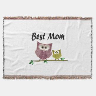 Best Mom Cute Owls Art Throw Blanket