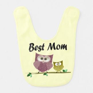 Best Mom Cute Owls Baby Bib