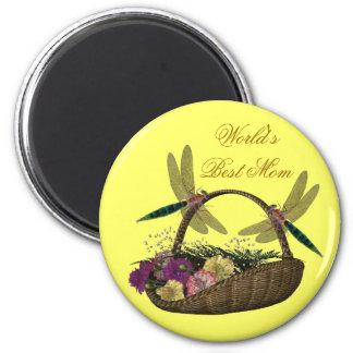 Best Mom Dragonflies Flower Basket Magnet