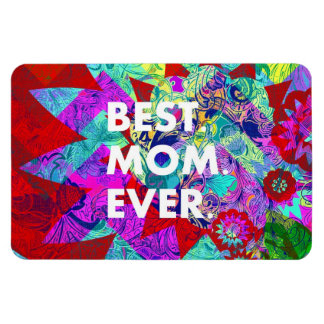 BEST MOM EVER Colorful Floral Mothers Day Gifts Vinyl Magnet