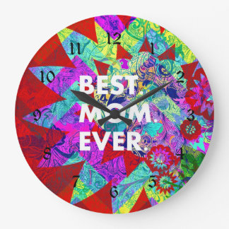 BEST MOM EVER Colorful Floral Mothers Day Gifts Wallclocks