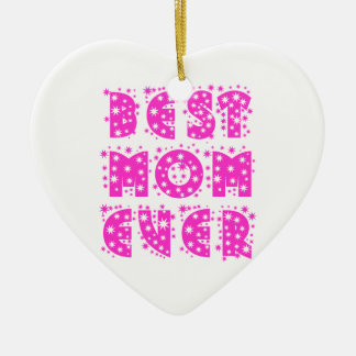 BEST MOM EVER Double-Sided HEART CERAMIC CHRISTMAS ORNAMENT