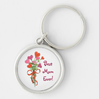 Best Mom Ever Heart Bouquet Key Chain