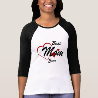 Best Mom Ever Hearts Ladies Raglan T-shirt