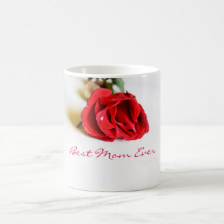 Best Mom Ever with a Single Red Rose Coffee Mug