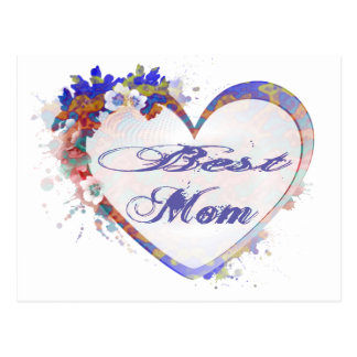 Best Mom Grunge Floral Heart Gifts Postcard