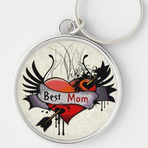 Best Mom Grunge Heart Keychain