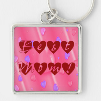 Best Mom in Hearts Silver-Colored Square Key Ring
