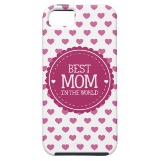 Best Mom in the World Pink Hearts and Circle iPhone 5 Case